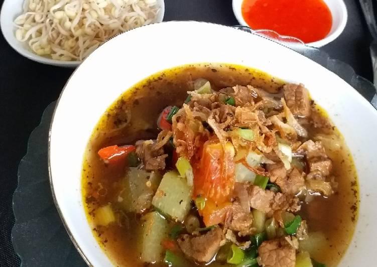 """Cara Mudah memasak """"Rawon Labu Siam-Daging"""" (tanpa lemak) enak"""