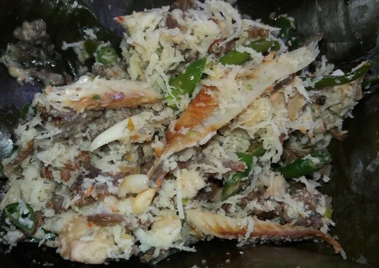 Cara Mudah memasak Bothok jamur grigit, tempe dan ikan asin