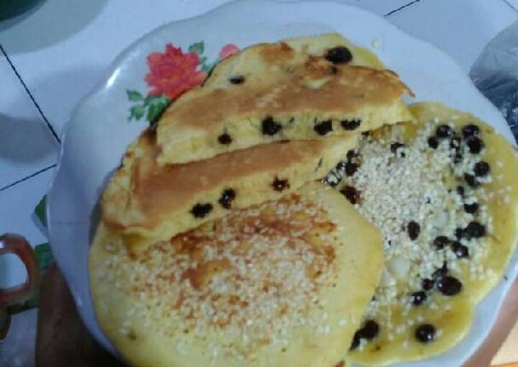 Cara memasak Pancake mudah,murah,topping wijen,chocochip dan blendung jagung