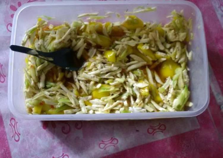 Cara membuat Rujak gobet mangga pisang