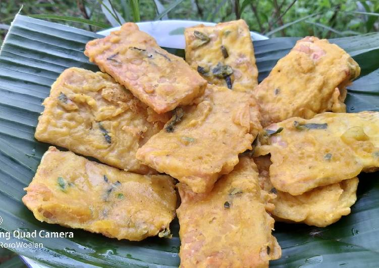 Cara Mudah membuat Tempe goreng tepung daun jeruk