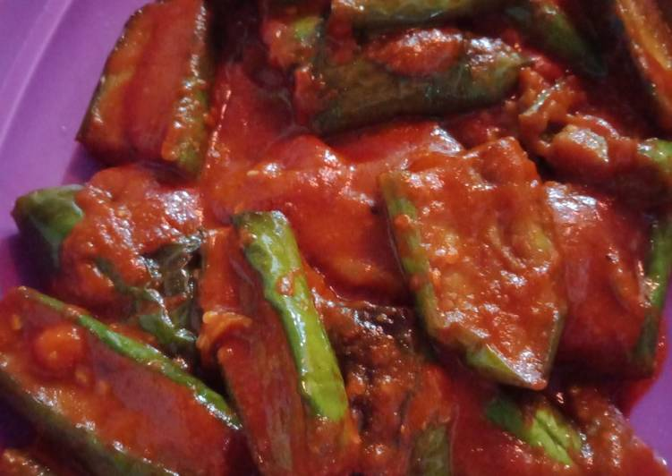 Resep mengolah Sambal terong hijau pedas manis