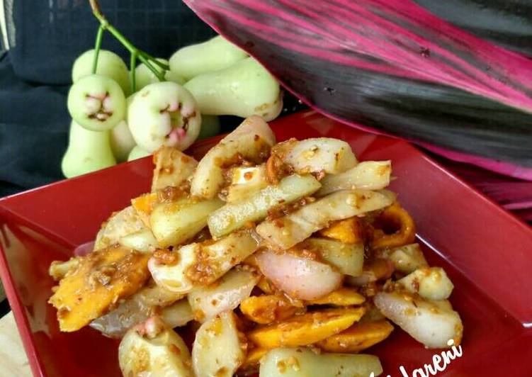 Resep: Rujak buah sambal kacang ulek lezat
