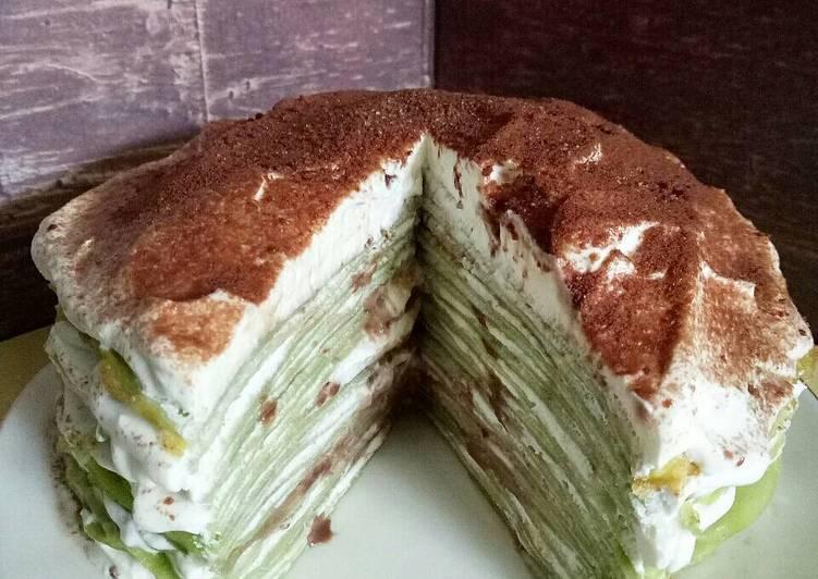 Cara memasak Green tea milo mille crepe