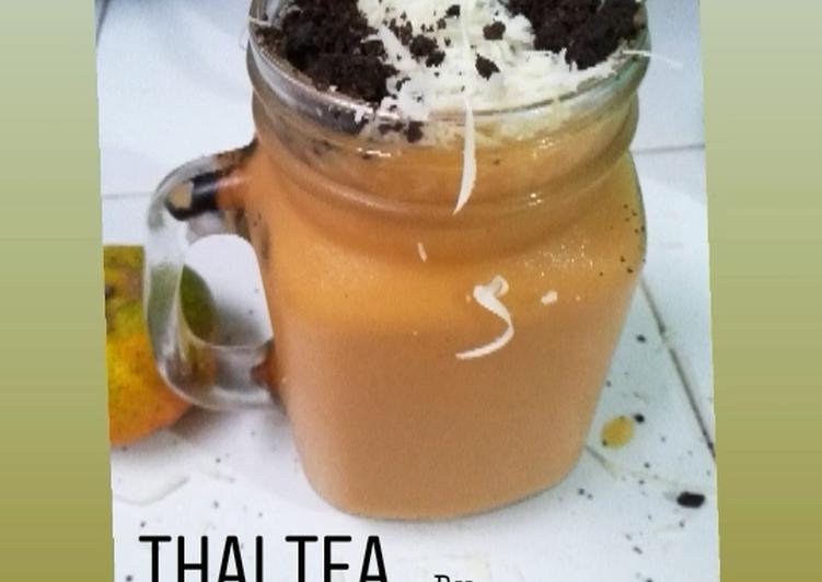 Cara Mudah mengolah Thai tea (topping keju + oreo)
