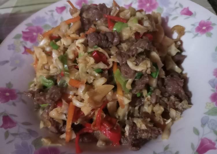Resep: Oseng kol + daging sapi
