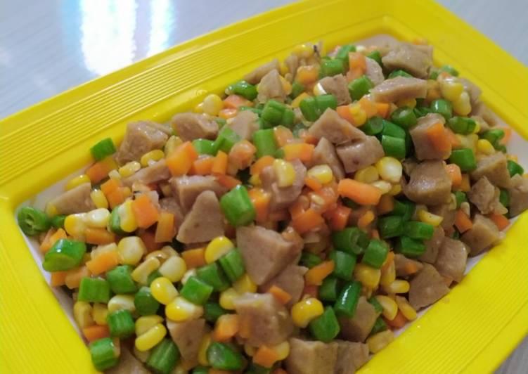 Resep memasak Oseng wortel, jagung, buncis dan bakso