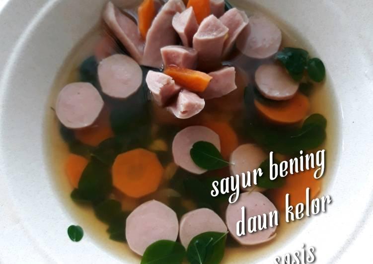Resep: Sayur bening daun kelor sosis - sayur anak sehat