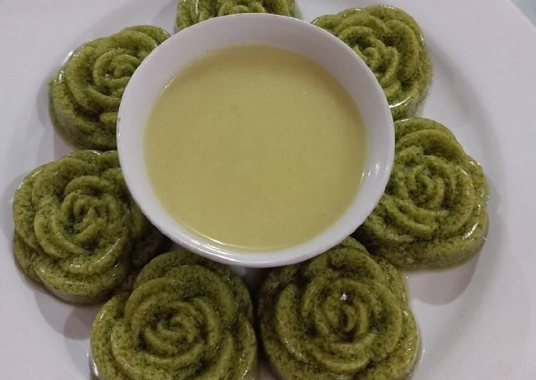 Cara Mudah membuat Puding daun kelor saus durian istimewa