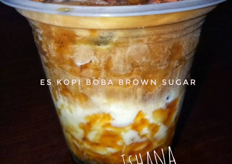 Resep mengolah ES Kopi susu boba brown sugar