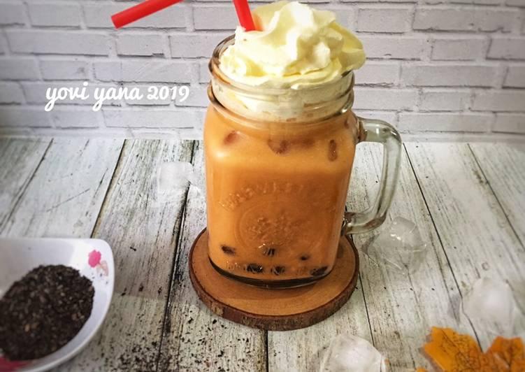 Cara Mudah membuat Thai tea milk bubble