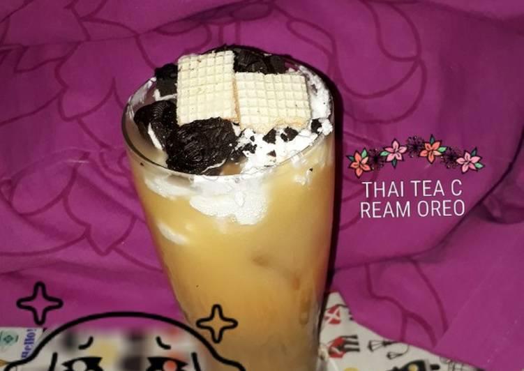 Cara memasak Thai tea cream oreo🍶 enak