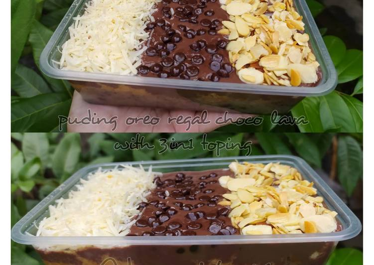 Resep: Puding oreo regal choco lava with 3in1 toping