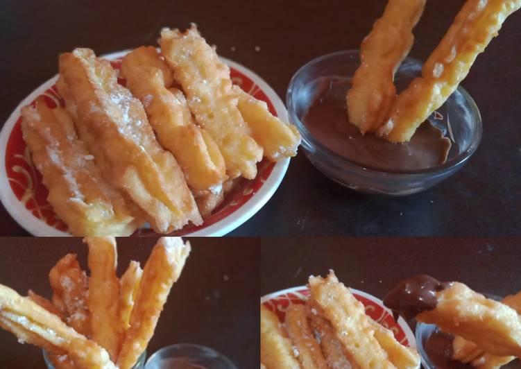 Resep: Churros tanpa mixer dan dengan takaran sendok lezat