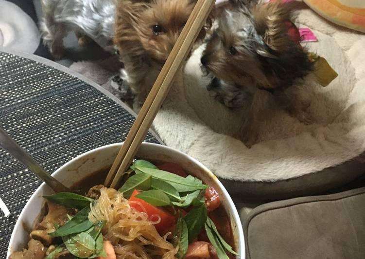 Cara Mudah memasak Lamb shank curry soup with mung bean noodles 🍝 lezat
