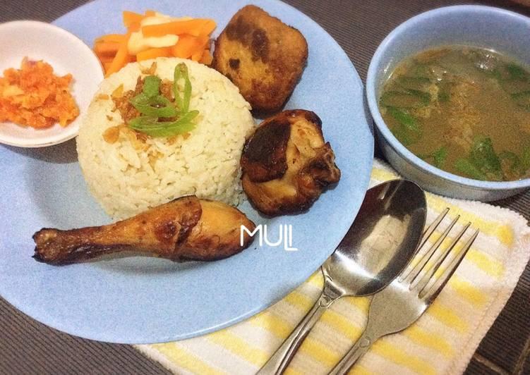 Resep: Nasi ayam / nasi hainam / chicken rice dengan ayam madu lezat