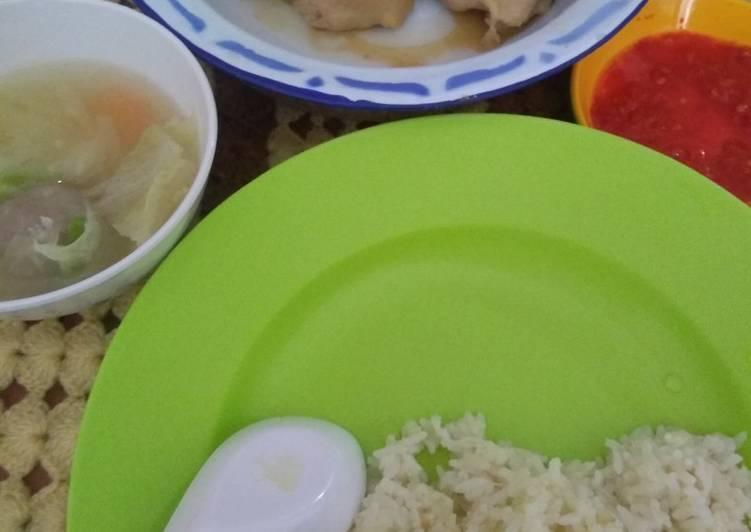 Cara Mudah membuat Hainan chicken steam rice enak
