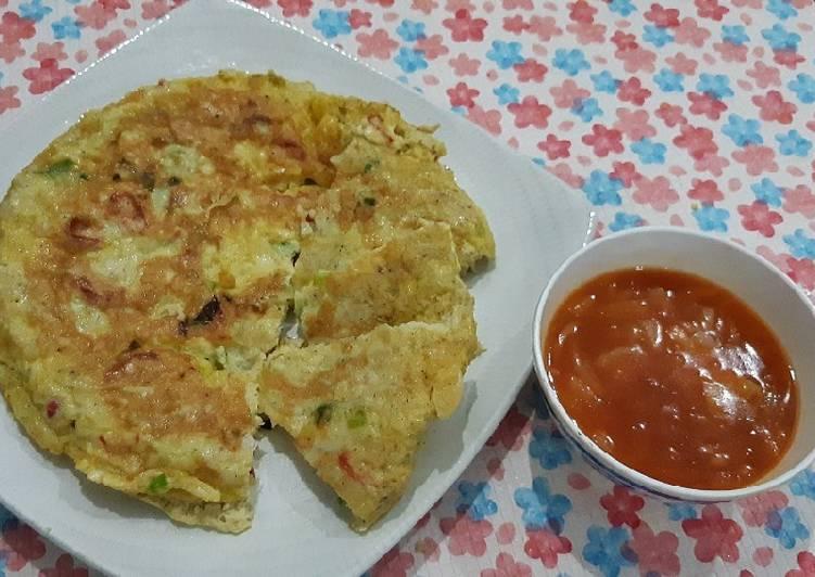 Resep membuat Pu yung hai teri basah saus asam manis lezat