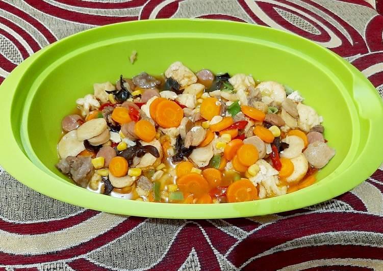 Resep mengolah Sapo tahu jagung manis+baso dan sosis lezat