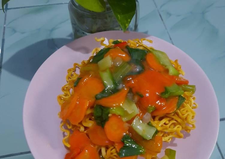 Cara memasak I fu mie veggie