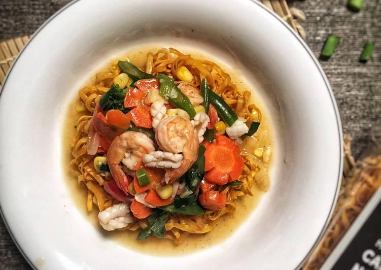 Cara mengolah Ifumi goreng seafood enak