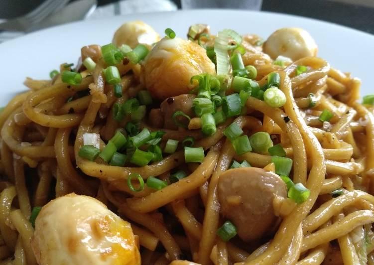 Cara Mudah membuat Bakmie Goreng Jamur & Telur Puyuh (Halal) istimewa