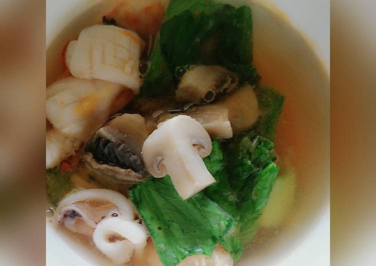 Resep: Tom yam soup less gula/garam no oil istimewa