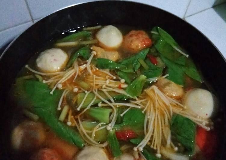 Resep: Bakso ikan kuah tomyam