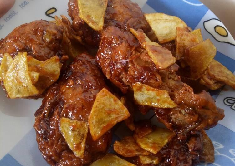 Resep: Korean crunchy butter chicken with potato (Dakgangjeong)