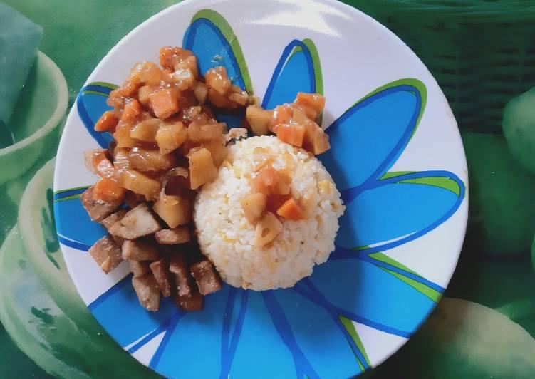 Resep: Butter rice, galantin ayam krispy saus bbq