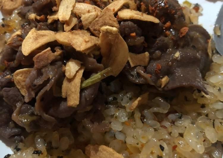 Resep: Lidah Sapi dengan shirataki butter rice lezat