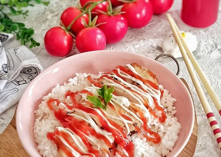 Resep memasak Butter Chicken Rice with Mayo & Tomato Sauce🍅 enak