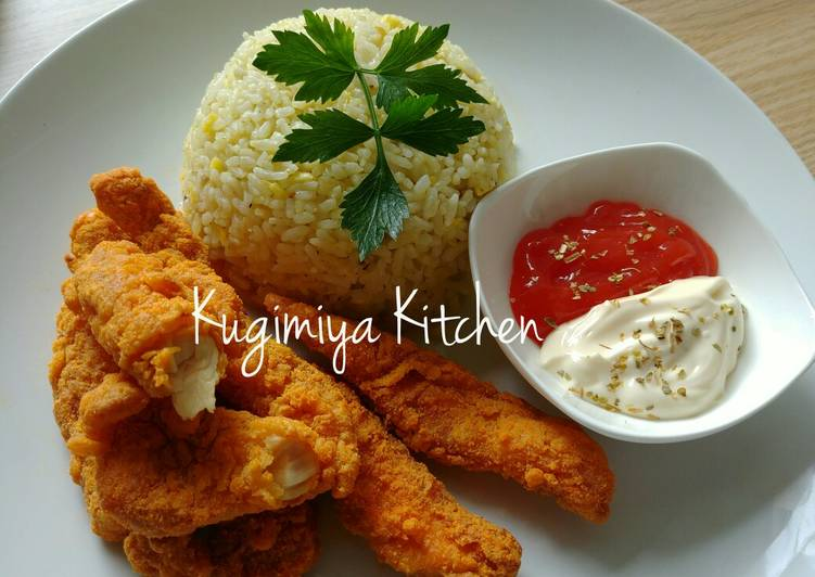 Cara Mudah membuat Cheezy Chicken Strips & Butter Rice lezat