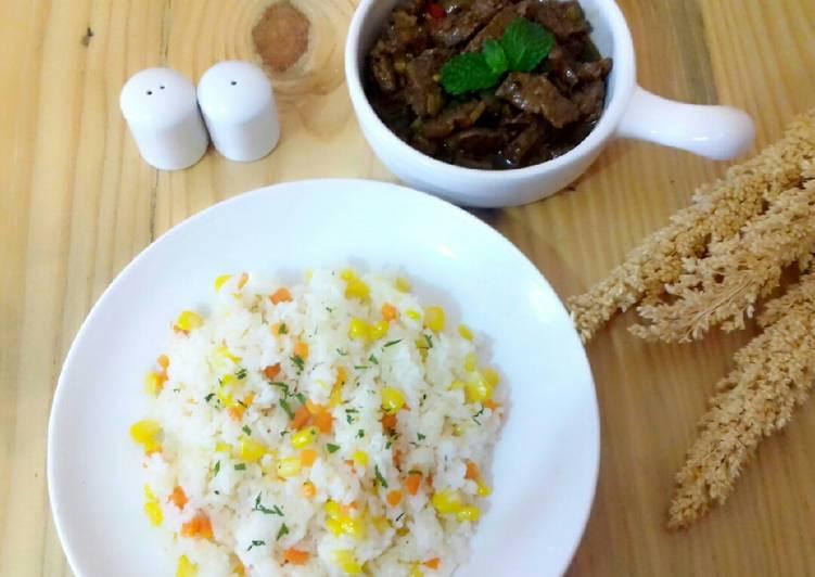 Resep membuat Garlic Butter Rice dan Sapi Lada Hitam istimewa