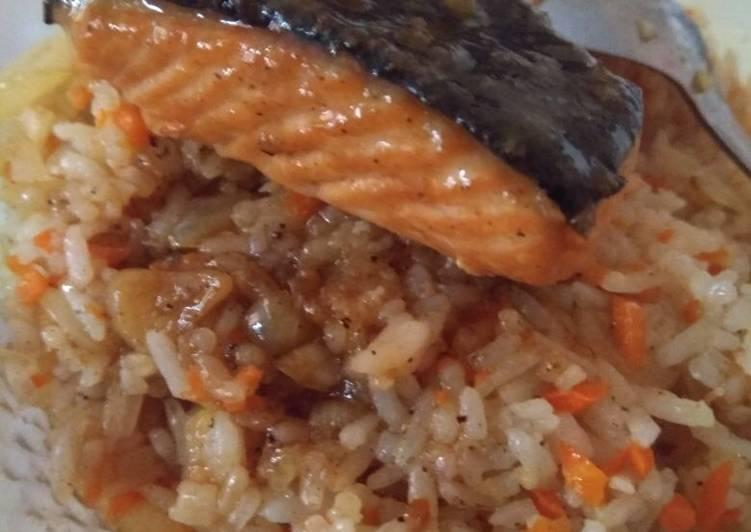 Resep membuat Salmon Teriyaki with butter rice