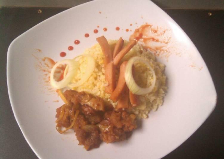 Resep mengolah Butter rice with chicken karage sauce lezat
