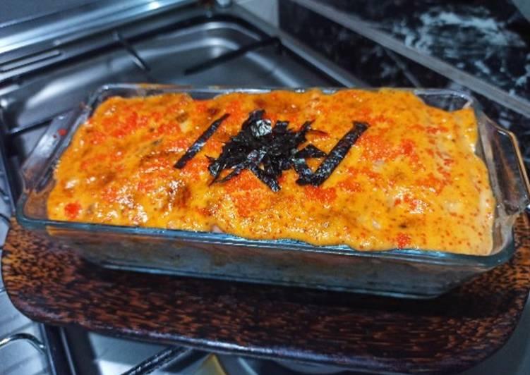 Cara Mudah membuat Salmon mentaiko rice versi pyrex nan gampil enak
