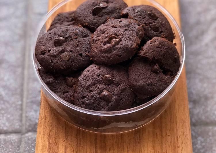 Cara mengolah Dark chocolate soft cookies