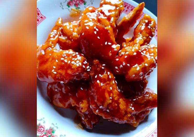 Cara Mudah mengolah Yangnyeom tongdak ekonomis (ayam goreng pedas manis ala korea) enak