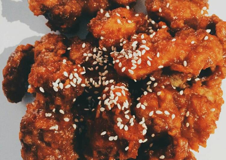 Resep: Yangyeom Ttongdak / Ayam Goreng ala Korea / Korean Fried Chicken