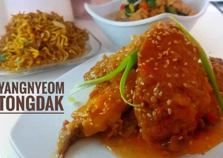 Cara membuat Yangnyeom tongdak ayam richeese pedas lezat