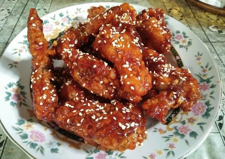 Resep: Yangnyeom Tongdak (ayam pedes ala korea)by me enak