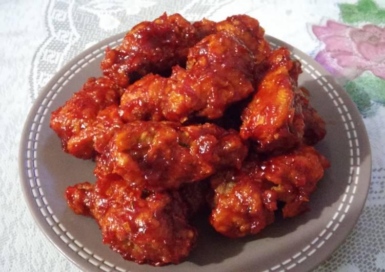 Resep: yangnyeom tongdak (ayam goreng saus pedas manis)