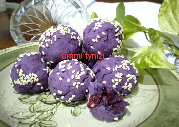 Resep: Bola ubi ungu (onde ubi ungu panggang), sugar free lezat