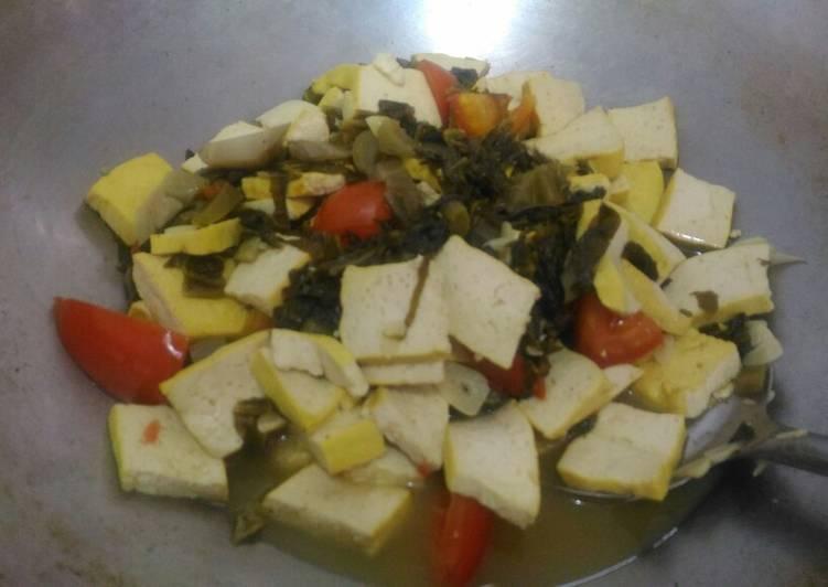 Resep memasak Tumis tahu kuning dan sayur asin