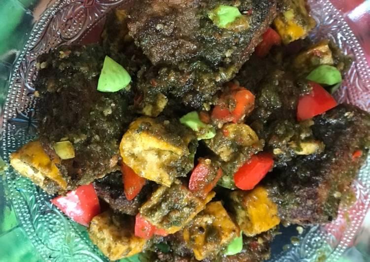 Resep: Sambal Ijo Lada Hitam Ikan Pari (Dicampur Pete dan Tahu Kuning) lezat