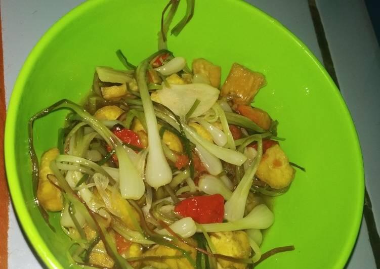Cara Mudah memasak Tumis bawang lokio/kucai tahu kuning