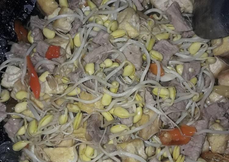 Cara memasak Tumis tahu kuning,kecambah delai,daging sapi sisa kurban simpel banget istimewa