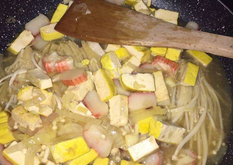 Cara Mudah mengolah Tumis crab stick tahu jamur enoki
