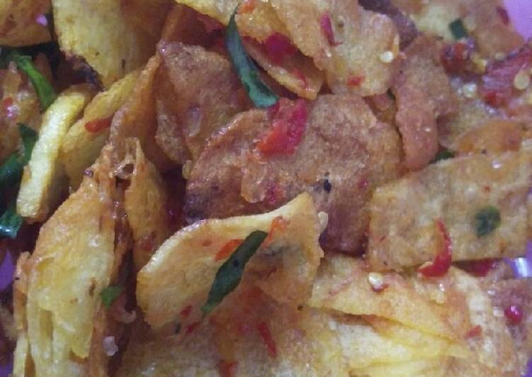 Cara Mudah mengolah Keripik kentang manis pedas